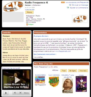 La page de Fréquence K sur MySpace